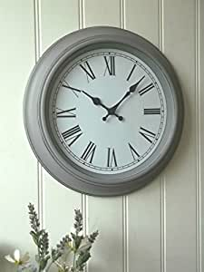 Shabby Chic Vintage Style Large Grey Wall Clock Perfect For Any Living Room Dining Rooms