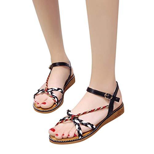 Apragaz Damenmode Casual Hausschuhe Open Toe Flache Schnalle Schuhe Low Heels Sommer Plus Size Sandal (Color : Schwarz, Size : 36 EU) (Kopfhörer-jack-cross)