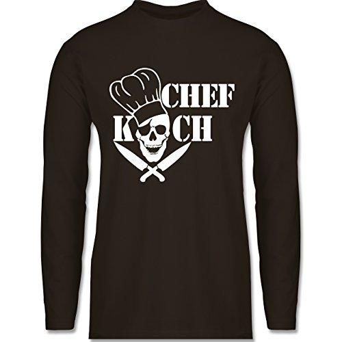 Shirtracer Küche - Chefkoch Totenkopf Skull - Herren Langarmshirt Braun