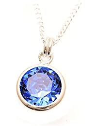 pewterhooter 925 Sterling Silver pendant and chain handmade with sparkling Sapphire Blue crystal from SWAROVSKI® in a silver channel setting. 40cm chain.
