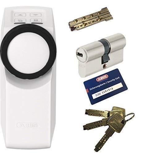 ABUS HomeTec Pro CFA3000 W + EC660 Doppelzylinder 40/50mm mit Not-u. Gefahrenfunktion, 3 Schlüssel + 1 Antriebsschlüssel