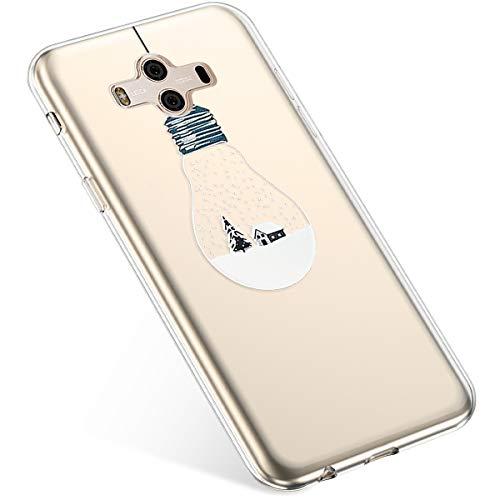 Uposao Handyhülle Huawei Mate 10 Schutzhülle Silikon Transpatente Hülle mit Weihnachten Muster Durchsichtige Handytasche Ultra Dünn Weich TPU Bumper Case Backcover,Lichter