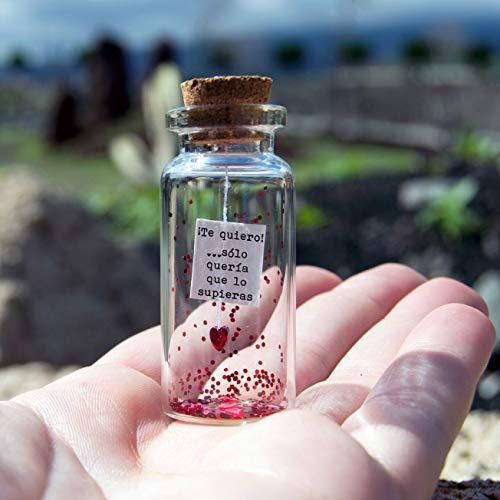 Te quiero. Sólo quería que lo supieras. Mensaje en una botella. Miniaturas. Regalo personalizado. Divertida postal de amor.