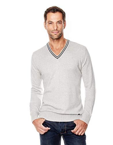 Vincenzo Boretti Herren-Pullover V-Ausschnitt Slim-fit tailliert Strick-Pullover V-Neck einfarbig Baumwolle-Mix edel elegant leicht Fein-Strick für Business oder Casual grau L -