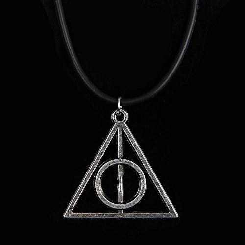 Harry Potter Deathly Hallows Rotating Triangle Necklace | Harry Potter Necklace for Girls & Boys | Harry Potter Accessories (Metallic Golden)