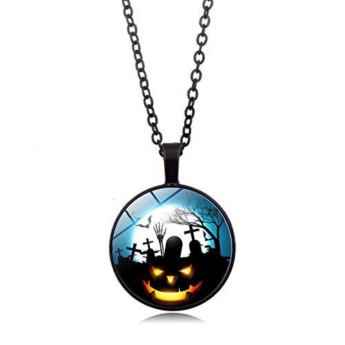 (Blisfille Happy Halloween Zeit Edelstein Halskette Mode Anhänger Halskette Pullover Kette Herren Damen Karnevalsfeier)