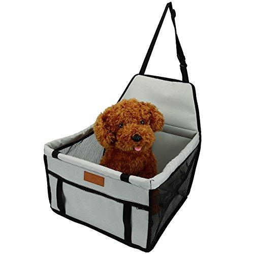 Mogoko Haustier Hunde Transportbox Hundetasche Auto Hundebox Box Auto-Hundesitz Autositz-Hund für Rückbank Transporttasche Schondecke Träger-Gurt verstellbar wasserfest sicherer Transport für Katze kleine Hund (Grau) (Greifer Reißverschluss)