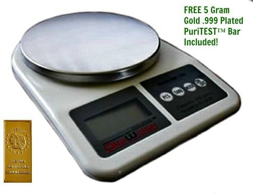 New Stainless Steel Kitchen Scale, Digital Measuring 0002 Ounces + 5 Gram Gold Test Bar by DigiWeigh/PuriTEST