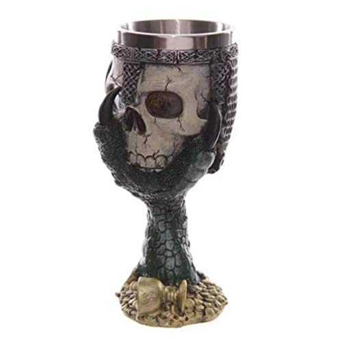 Sanzhileg Jarra de Cerveza de Cerveza de Copa de cráneo 3D de Acero Inoxidable Creativo Taza para Beber - Plata