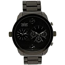 Softech Designer Men's Two Time Zone Twin Dial Watch All Black Metal/ Black Face
