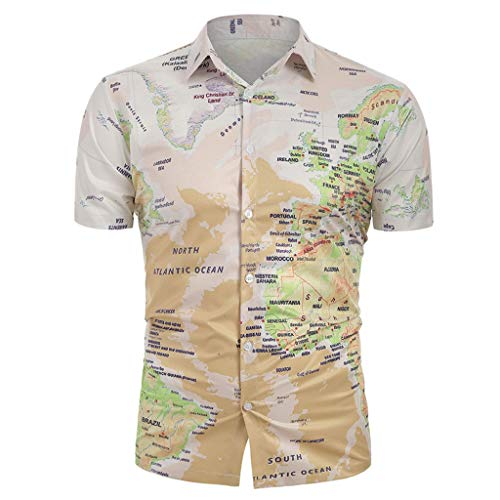 Kurzarm Herren Map Print Top ()