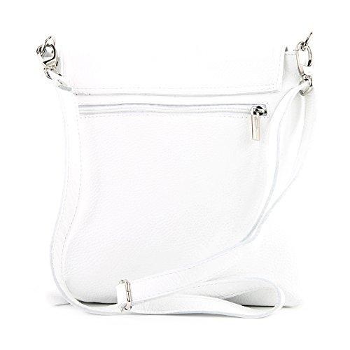 modamoda de - ital Messenger-/Umhängetasche aus Leder T146, Farbe:Weiß