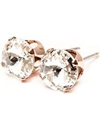 pewterhooter 9mm Rose Gold stud earrings expertly made with sparkling Diamond white crystal from SWAROVSKI®.