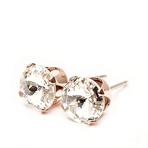 9mm Rose Gold stud earrings expertly made with sparkling Diamond white crystal from SWAROVSKI®.