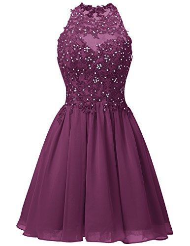 Dresstells Damen Kurz Gipüre Neckholder Ballkleid Homecoming Kleider Grape Größe 36