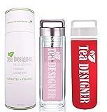 TEA TO GO ROSE Teekanne BPA frei Edelstahl-Sieb Tee-Flasche Trinkflasche aus Glas to go, Teebereiter Set+Metallic Deckel +Schutzhülle,Thermobecher, Thermosflasche,Glasflasche,doppelwandig