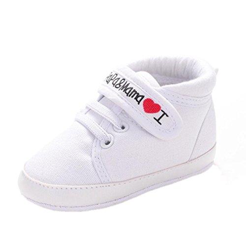 Scarpe neonato unisex in pelle morbida - ricamo a forma di cuore - sneaker antiscivolo (età: 6~12 mesi, bianca)