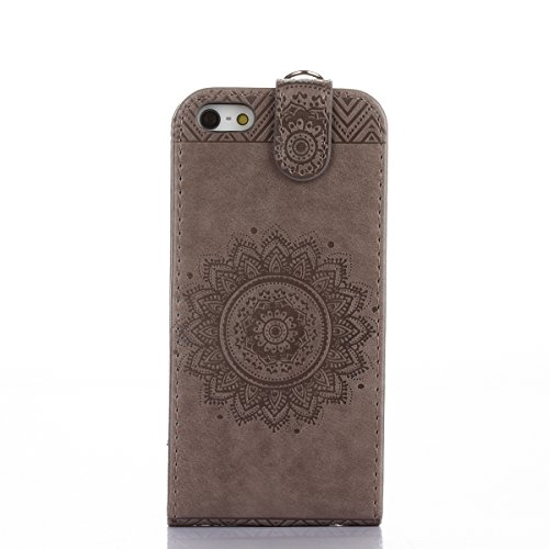 Felfy Coque Etui pour iPhone 5S,iPhone SE Coque Dragonne Portefeuille PU Cuir Etui,iPhone 5S Etui Cuir Folio Housse Rose Tournesol 3D en Relief Motif Leather Case Wallet Flip Protective Cover Etui [PU Flip Gris