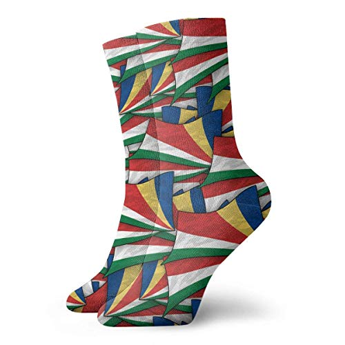 Bgejkos Seychellen Flagge Welle Collage Crew Socken Lustige Neuheit Dünne Casual Sport Komfort Arbeit 11,8