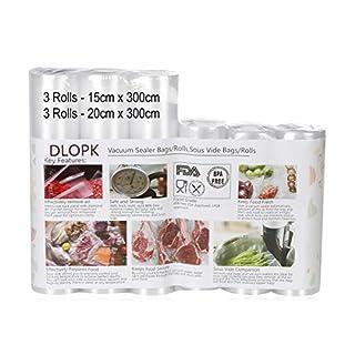 Sacs sous Vide Pack de 6 Packs 15 x 300cm et 20 x 300cm Compatible avec n'importe quelle scelleuse sous vide pour la maison,sans BPA, Approuvé par la FDA pour Appareil sous Vide, Qualité Commerciale