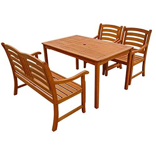 IND-70288-MOSE4GB2 Gartenmöbel Set Montana, Garten Garnitur Sitzgruppe aus Holz - 4-teilig - Tisch + Gartenbank + 2 x Stuhl