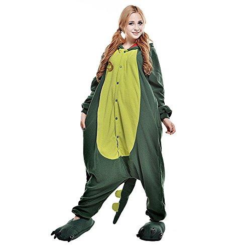 verall Pyjama Jumpsuit Kostüme Schlafanzug Für Kinder / Erwachsene (L, Grüner Dinosaurier) (Dinosaurier Kostüme Für Frauen)