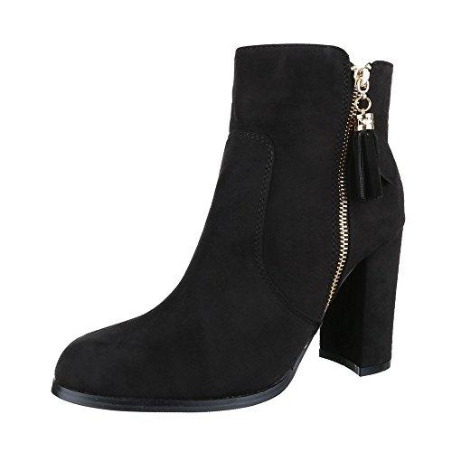 Klassische Stiefeletten Damen Schuhe Schlupfstiefel Pump High Heels Reißverschluss Ital-Design Stiefeletten Schwarz
