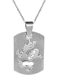 Pendentif Homme Médaille Rectangle avec Motif Dragon Découpé en Acier Inoxydable avec Chaîne.