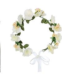 HanLuckyStars Corona de Flores Guirnalda Flores Artificiales para el pelo Elegante Decoradas para Boda Fiesta Viaje Fotografía (Flores Blancos)