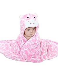 Mture Sortie de bain a capuche, drap de bain bebe, Mignon Animal Peignoir Sortie de Bain Pour Bébé (rose)