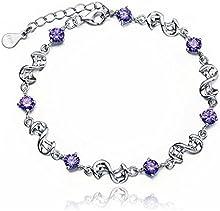 Pulseras de mujeres - SODIAL(R)Pulseras purpuras atractivas para mujeres pulsera de plata Purpura + Plata