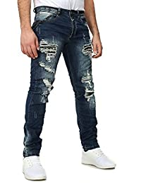 Justing Homme Look Destroyed Jeans HONG KONG Slim Fit Look Destroyed Rockabilly Style avec Chaîne de sac à main