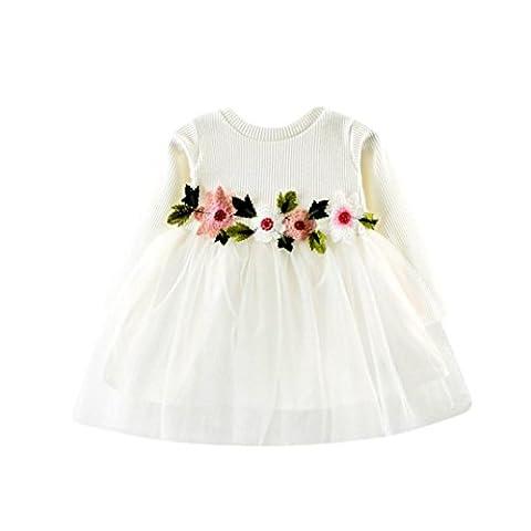 Baby Mädchen Kleid Longra Nettes Kleinkind Baby Blumenkleid Ballettröckchen Tutu Kleid Baby Herbst Langarm Prinzessin-Kleid(0-24Monate) (80CM 12Monate, White)