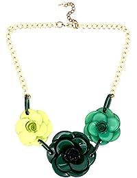 06fc5431e40e Moda Joyería Chicas Racimo Oscuro Verde Flor Rosario Babero Declaración  Fornido Collar ...