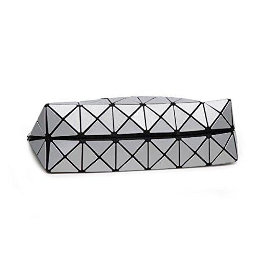 Frauen Matte Falten Geometrische Umhängetasche Mode-Handtasche Grey
