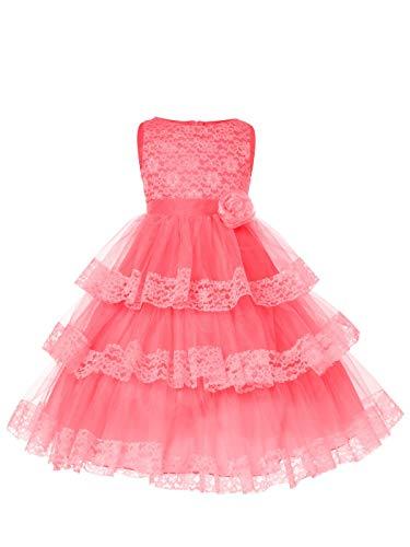 SOFYANA Baby - Girl's Lace Princess Gown Birthday Party Wear Long Frock Dress_Coral Flower Net_113_1-2 Years Kidswear