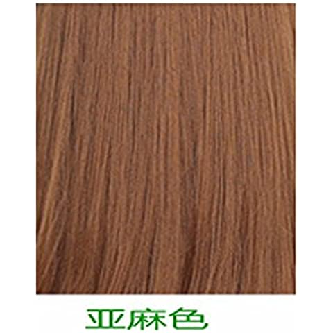 XNWP-Cuero cabelludo femenino aire fino flequillo peluca larga recta pelo en rizos hebilla realista en el largo cabello rubio,naturalmente