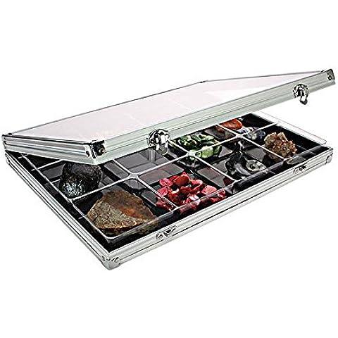 Vitrina de colección de aluminio con inserciones de plástico transparente [Lindner 4890-12], con 12 compartimentos 87 x 90 mm. Formato: 395 x 300 x 45 mm.