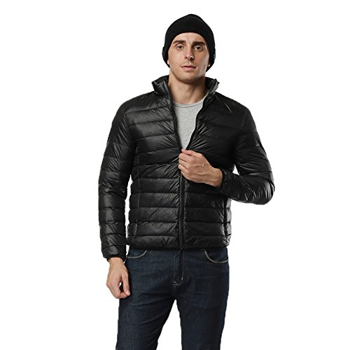Giacca piumino uomo sportivo giubbotto piumino invernale manica lunga comprimibile ultra leggero misura a scelta nero l