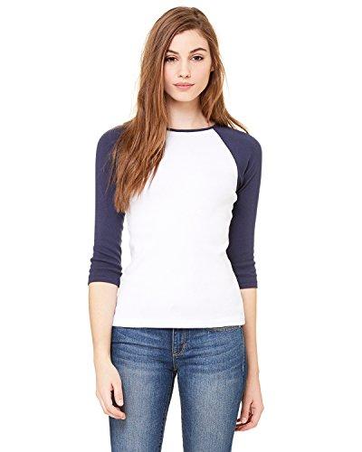 Baseball-Shirt mit 3/4-Ärmel - Farbe: White/Navy - Größe: M -