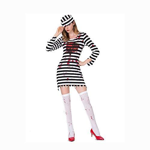 SDCNDAND Fun World Adult Jailhouse Honig Halloween Kostüm Frauen Vintage Jailbird Striped Prison Inmate,S (Jailbirds Kostüm)