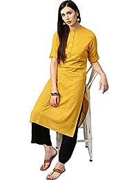 Jaipur Kurti Women's Cotton Kurta With Palazzo Set (Yellow & Black)