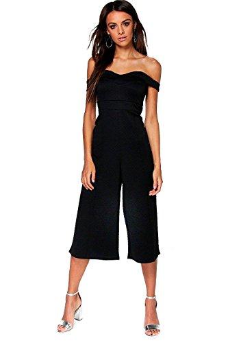 Noir Femme Amy Combinaison Jupe-culotte Bardot Texturée Et Structurée Noir