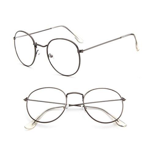 rawuin 1Vintage Herren Frauen Metall Frame Brille rund Brille Clear Lens Optische (# 007)