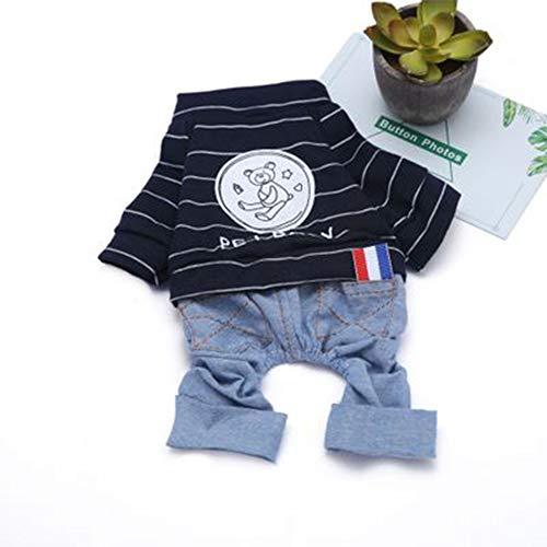 Kostüm Cat Bear - GLZKA Pet Kostüm Freizeit Bekleidung Jeans Striped Bear Vierbeiner für Teddybär Schnauzer Puppy Cat Frühling und Sommer,Navy,S