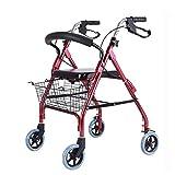CHenXy Walker Aluminiumlegierung Mit Handbremse, Mit Sitz Mit Korb Faltbar, Rot, Geeignet for ältere Menschen medizinische Walker (Color : Red) -