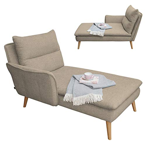 Creme-ottomane (place to be. Recamiere Ottomane Chaiselongue Sitzbank Polsterbank Tagesbett Daybed mit Armlehne Links Eiche Creme)
