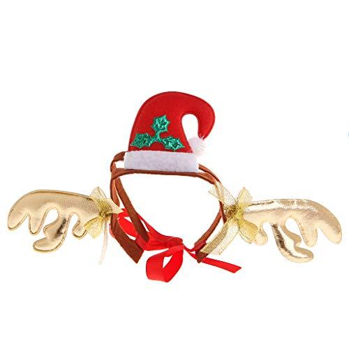 (Qiuxiaoaa Weihnachten Ankunft Haustier Stirnband Hirsch Schneemann Halloween Niedlichen Kostüm Lustige Hund Katze Welpen Maskottchen Cosplay Kleidung Kopfschmuck Geweih)