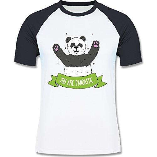 Statement Shirts - Panda You are pandastic - zweifarbiges Baseballshirt für  Männer Weiß/Navy Blau
