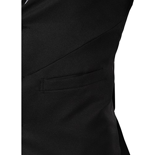 Boom Fashion Casual Mode Gilet Veston Veste Costume Sans Manches Homme Branché(chemise Non inclus) Noir